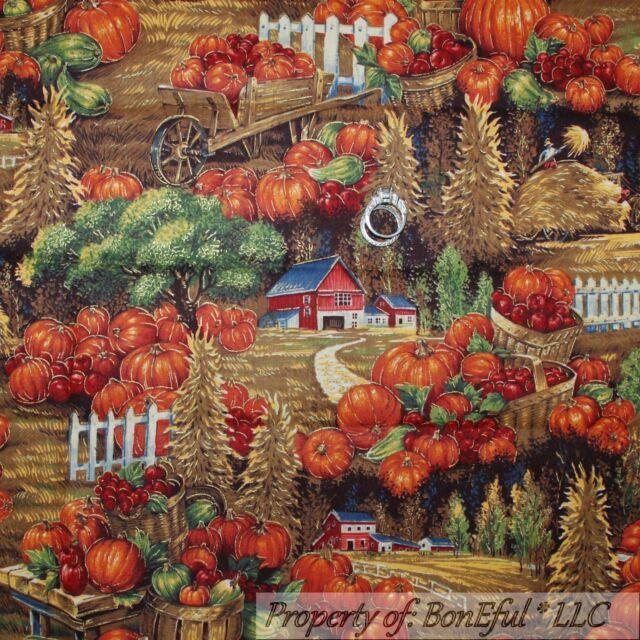 BonEful Fabric FQ Cotton Quilt Thanksgiving Gold VTG Harvest Pumpkin Farm Toile