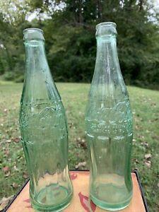 Coca-Cola-1955-Vintage-12-Oz-Embossed-Bottles-Lot-Of-2