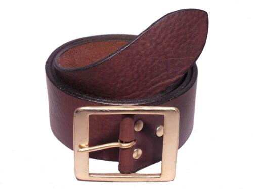Rectángulo de latón de 2 Pulgadas de 50mm de Ancho de Cuero Correa De Jean Cintura Tamaño Pequeño Mediano Grande