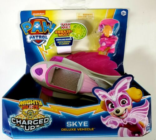 Skye Mighty Pups Charged Up Paw Patrol Deluxe véhicule figurine Lights Sound