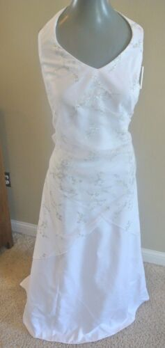 Jump White Silver Halter Lace Wrap Bridal Gown Wed