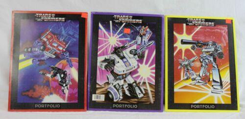 Lot of 3 Vintage Transformers Portfolio Folders Jazz Optimus Prime 1984 Hasbro