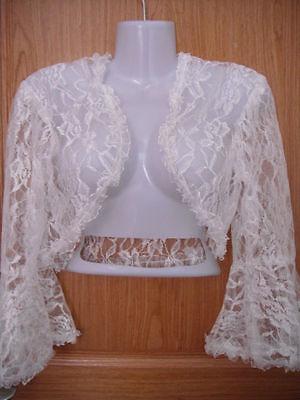 Free Shipping New Ivory Lace Jacket Wedding Bolero Bridal Coat Long Sleeves