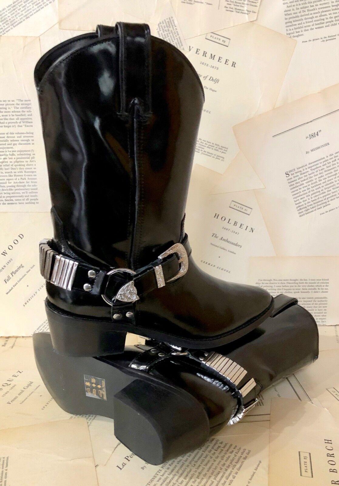 Nuevo En Caja Caja Caja herojoera Brillante Negro Cuero Hebilla de acento botas de vaquero occidental de Plata 36 6 c68dd6