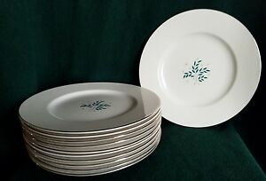 11 Syracuse China Lyric White Porcelain Dinner Plates 10 1 4 1955