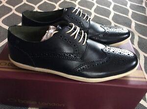 BASE-LONDON-Herrenschuhe-Sneakers-NEU-Gr-7-Gr-41-Schwarz-Echtleder