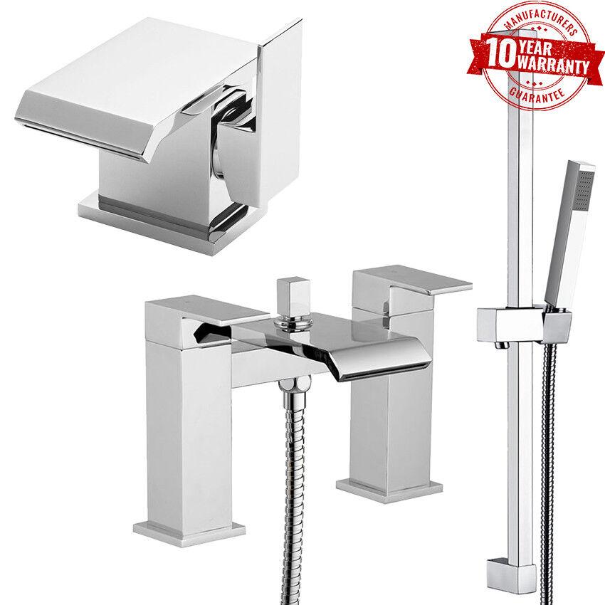 Cascade de Luxe Carré Mélangeur lavabo robinet & bain douche Mélangeur Set avec Kit de rails  Q