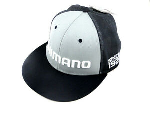SHIMANO-LOGO-FLATBILL-PROFLEX-Q3-FITTED-HAT-NAVY-MESH-FISHING-MENS-SIZE-LG-XL