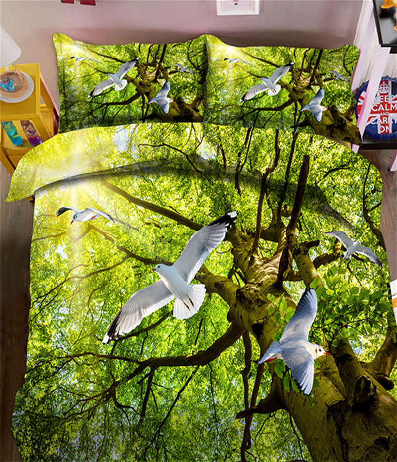 Green Olive Branch 3D Printing Duvet Quilt Doona Covers Pillow Case Bedding Sets