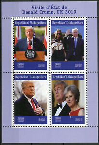 Madagascar-2019-MNH-Donald-Trump-UK-Visit-Theresa-May-4v-M-S-People-Stamps
