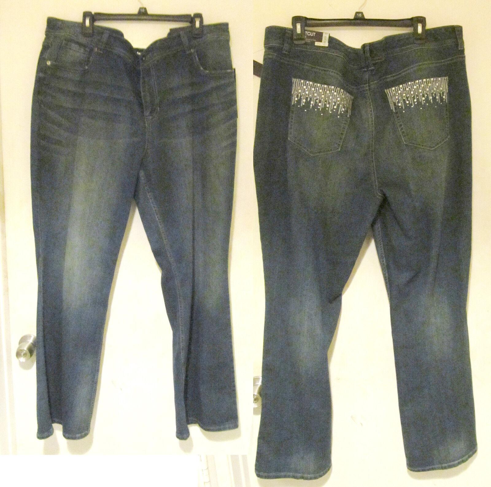Apt 9 dark wash Bootcut flare Rhinestone embellished Jeans Womens size plus 22