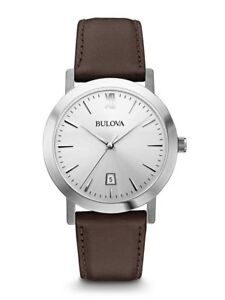 Bulova Men's Quartz Silver Tone Dial Brown Leather Strap 38mm Watch ... 196683cd578f