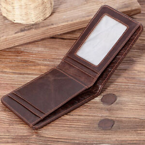 e2ce5452d1 Details about Men's Genuine Leather Slim Billfold Wallet RFID Blocking Card  Holder Money Clip