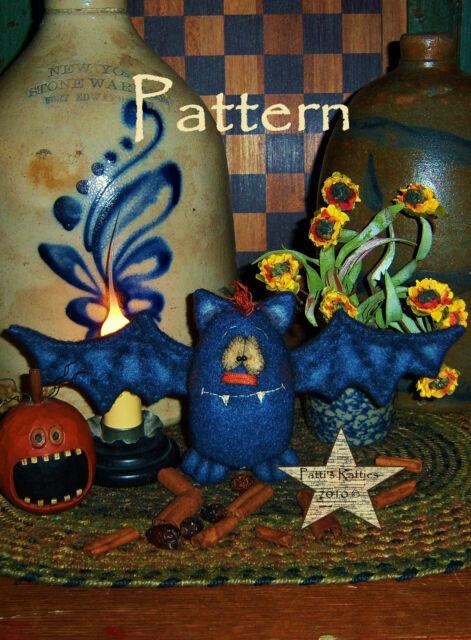Primitive Fall Halloween Bat Ornie Doll Pattern #609