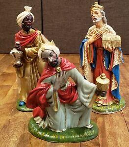 "Vintage Italy Italian 3 Wise Men Magi Kings Nativity 12"" Paper Mache -- Gorgeous"