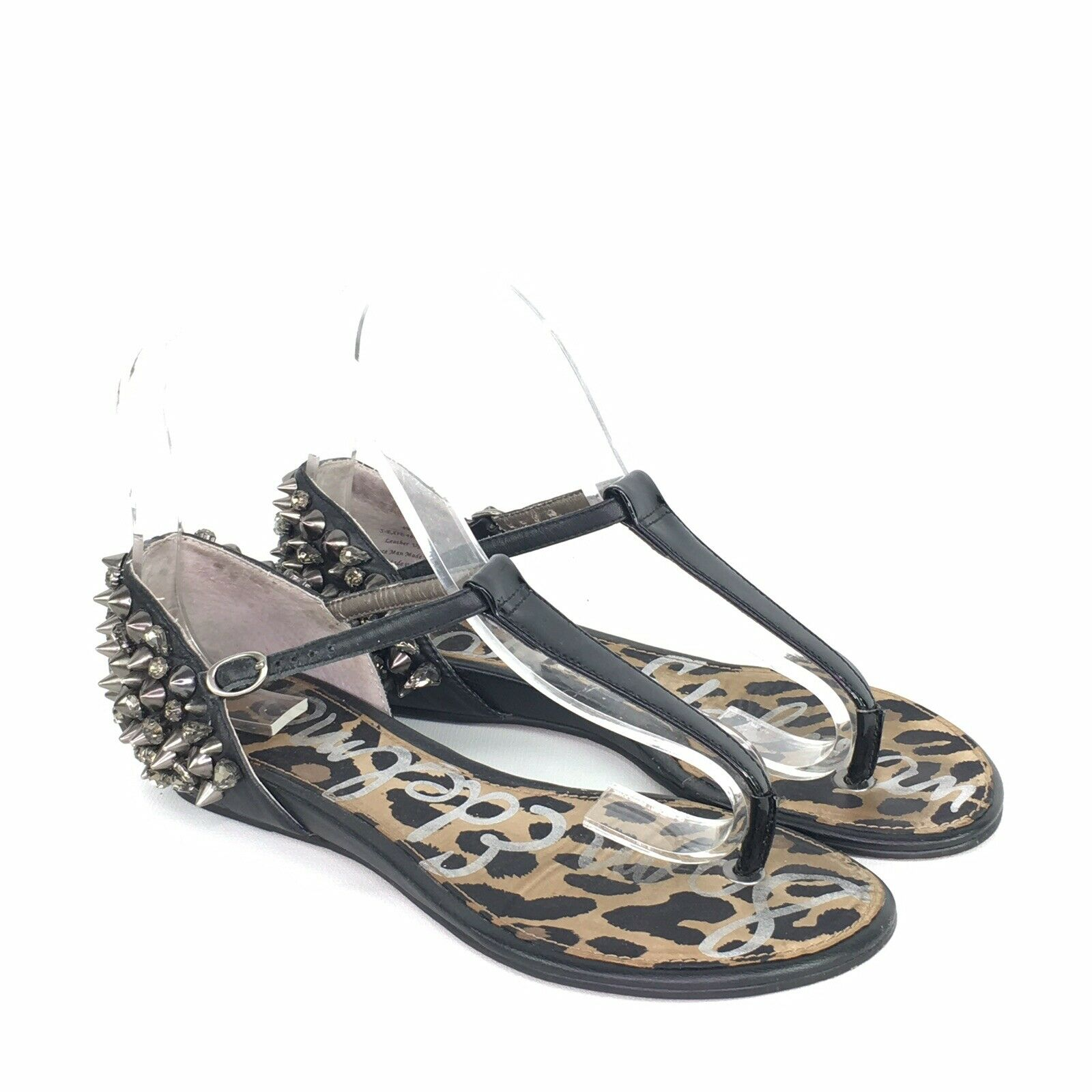 Sam Edelman Black Leather Studded Thong Sandals Womens 6 M