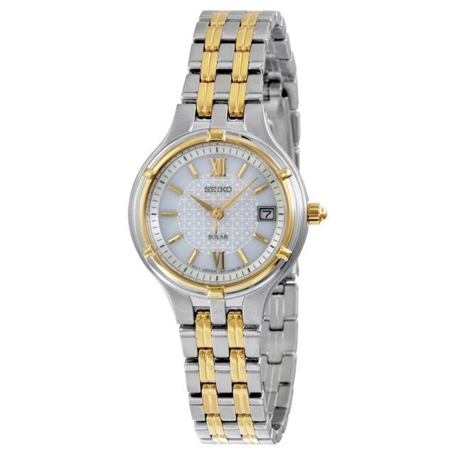 Seiko Women's Solar White Dial Two Tone Stainless Steel Watch SUT020