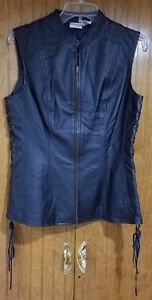 Side 10 W Sort News læderforet Vest Ved Newport Lacing Pre owned Size qtcgT7x