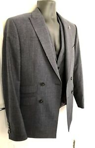8bcfa5ce8a21 Ted Baker 100% Wool Double Breasted Dark Blue 3 Piece Suit - 38R