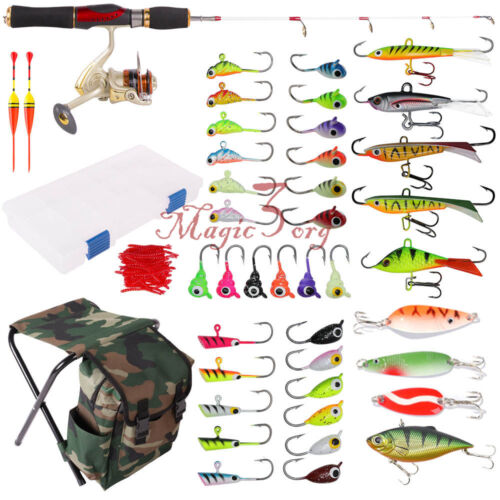 Ice Fishing Spinning Rod and Reel Combo Stool Rap Kit Lure Set Tackle Box Winter