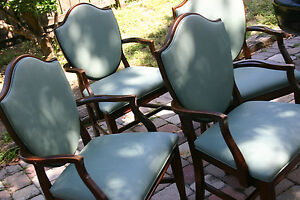 4 shield back armed dining chairs sheraton antique duncan
