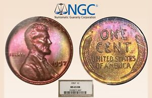 1957-1C-NGC-MS65RB-Monster-Toned-Lincoln-Cent-RicksCafeAmerican-com