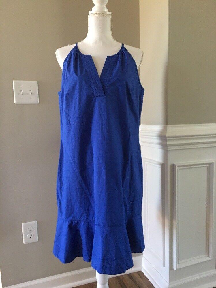 New J Crew Flutter-hem Dress Cobalt bluee Sz 12 F4007