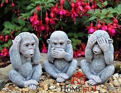 3 Wise Monkeys Giardino Ornamenti Decorativi Interni Esterni-