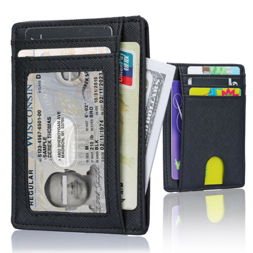 Wallet for Men Slim Leather Wallet with Money Clip ID Window and RFID Blocking