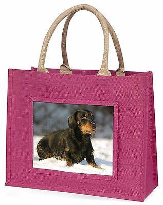 langhaarige Dackel Hund Große Rosa Einkaufstasche Weihnachtsgeschenk,AD-DU35BLP