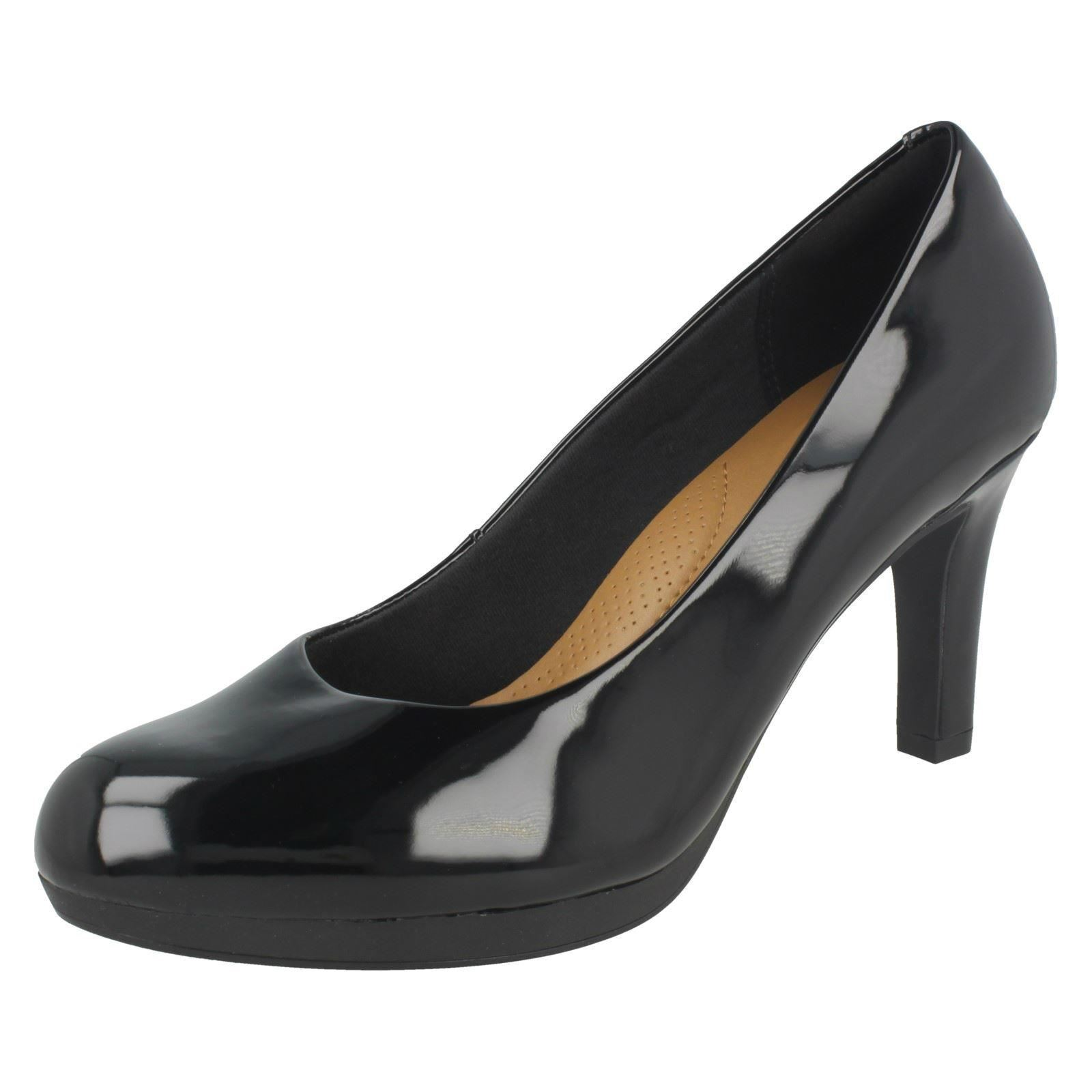 ADRIEL VIOLA LADIES CLARKS LEATHER HEELED WIDE SLIP ON PUMPS HEELED LEATHER COURT Schuhe SIZE f206e6