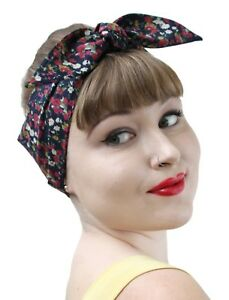 Navy-Small-Flower-Vintage-50s-Style-Pin-Up-Bow-Head-Scarf-Bandana-1950s-Retro