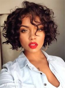 Details About Bob Hairstyle Short Curly Synthetic Hair Capless African American Women Wigs