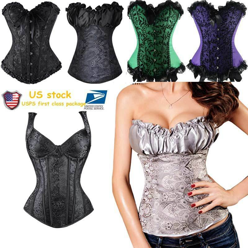 93c0865725e Women Lace up Overbust Corset Top Bustier Steampunk Waist Trainer Cincher  Shaper