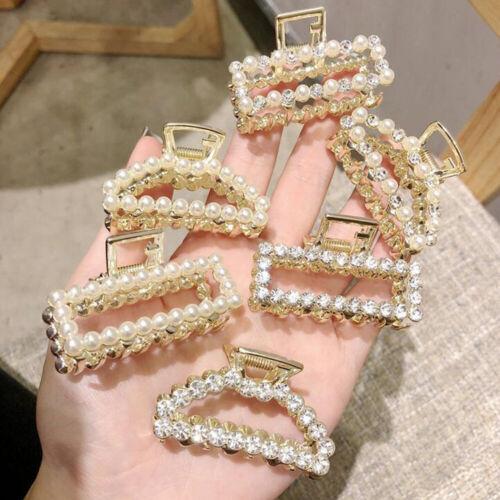 Women Crystal Pearl Hair Claw Clips Barrette Crab Clamp Girls Hair Accessories