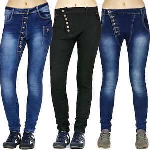 Das Bild wird geladen Damen-Jeans-Boyfriend-Hueft-Hose-Hellgrau-Baggy-Knopf- 5a38a8449f