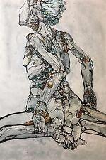 Robotic woman, painting, original art