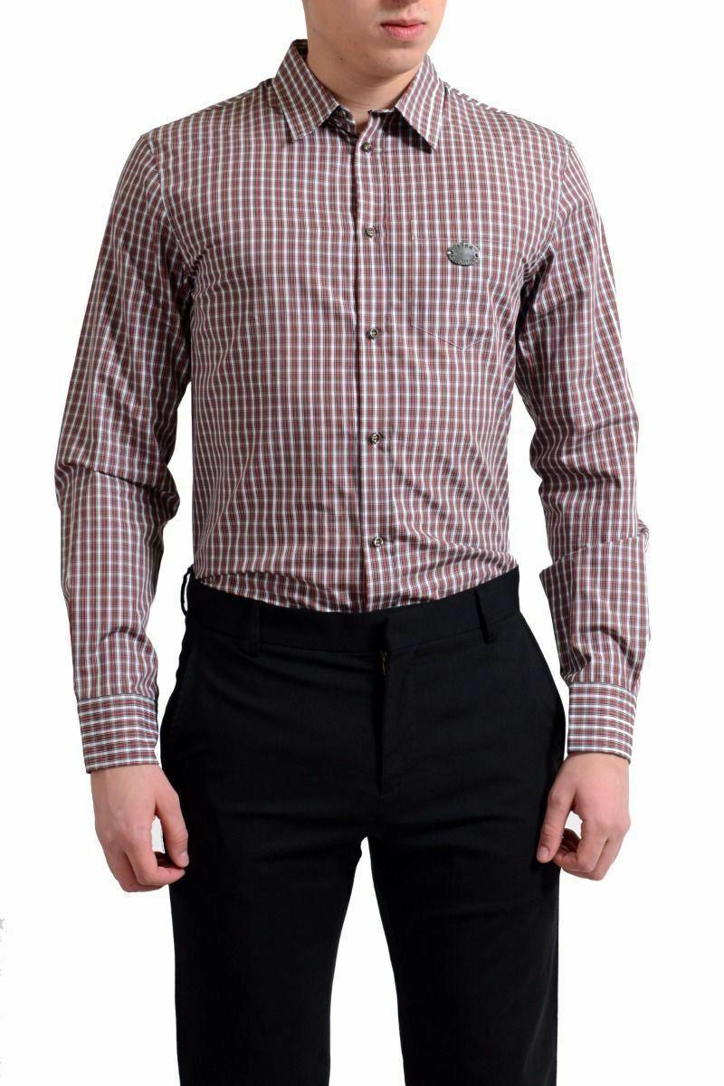 5876c1f6e Dsquared2 Men s Plaid Button-Front Long Sleeve Casual Shirt Size S XL