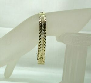 Beautiful 9 carat Gold Greek key Link Bracelet