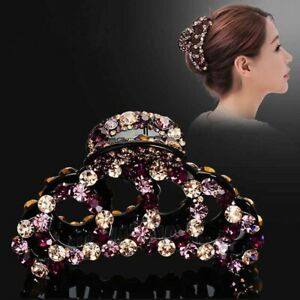 Women Luxury Hair Headwear Crystal Rhinestone Large Hot Claw Clip Hairpin