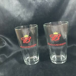 "Pair of Vintage Clear Glass Budweiser Crown B 5-3/4"" Glasses"
