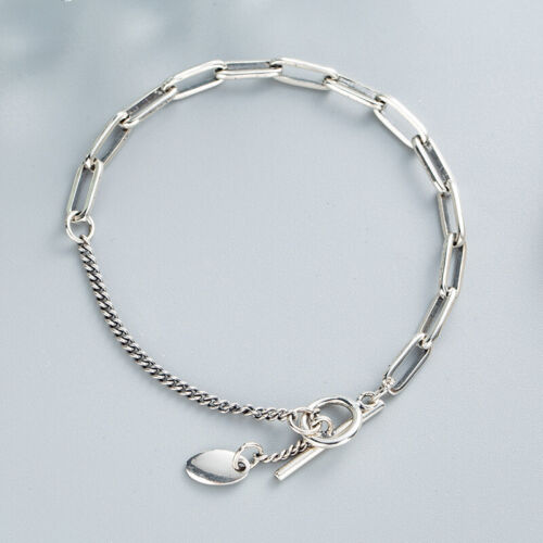 NEW Retro Womens S925 Sterling Silver Asymmetry Curb/&Rolo Link Chain Bracelet