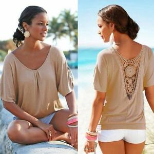 Fashion-Women-Summer-Lace-Short-Sleeve-V-Neck-Blouse-Loose-Casual-Tops-T-Shirt