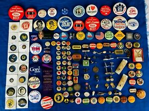 Vintage-Collectible-Mixed-Lot-of-150-Pins-Buttons-Tie-Tacks-Cufflings-Pinbacks