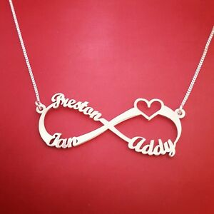 Details About Personalized Necklace Name Necklaces Infinity Heart Design Any 1 3 Names