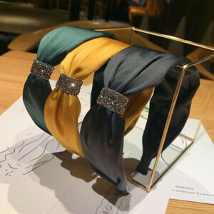 Women's Tie Crystal Headband Hairband Wide Hair Hoop Band Accessories Headpiece