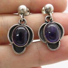 Vtg 925 Sterling Silver Natural Amethyst Gemstone Dangling Earrings