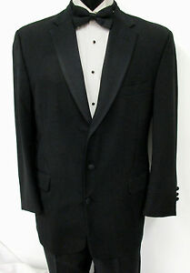 56XL Black Chaps Tuxedo Jacket Grosgrain Satin Lapel Wedding Prom Cruise Mason