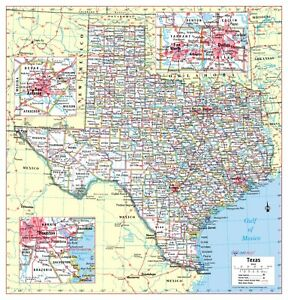 """Cool Owl Maps Texas State Wall Map Poster - Laminated 24""""x25"""""""