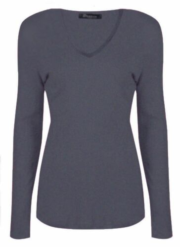New Ladies  Women/'s Long Sleeve V-Neck Causal T-shirt Top  Size UK 8-26